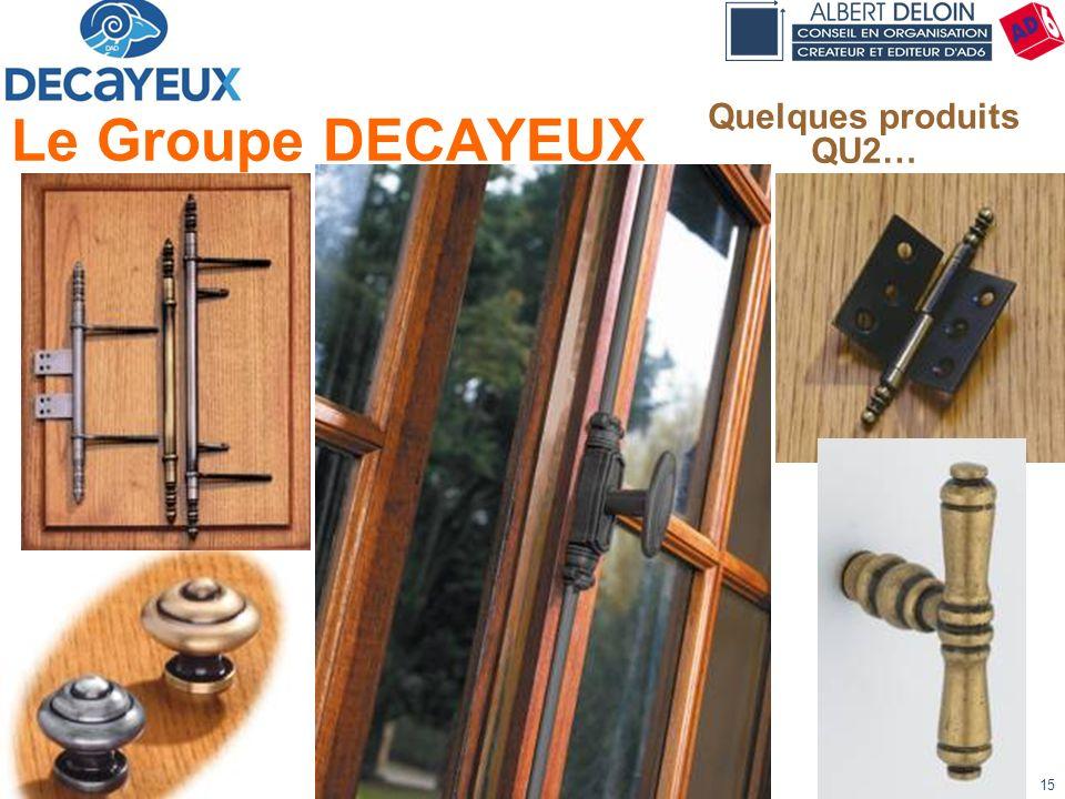 Présentation DECAYEUX - Albert DELOIN SAS15 Le Groupe DECAYEUX Quelques produits QU2…