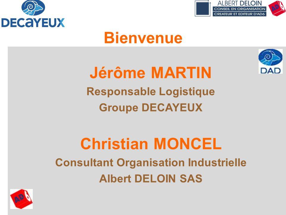 Présentation DECAYEUX - Albert DELOIN SAS2 Jérôme MARTIN Responsable Logistique Groupe DECAYEUX Christian MONCEL Consultant Organisation Industrielle