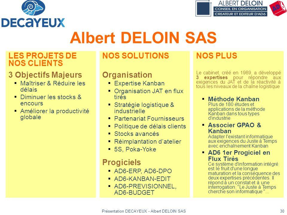 Présentation DECAYEUX - Albert DELOIN SAS30 Albert DELOIN SAS NOS SOLUTIONS Organisation Expertise Kanban Organisation JAT en flux tirés Stratégie log