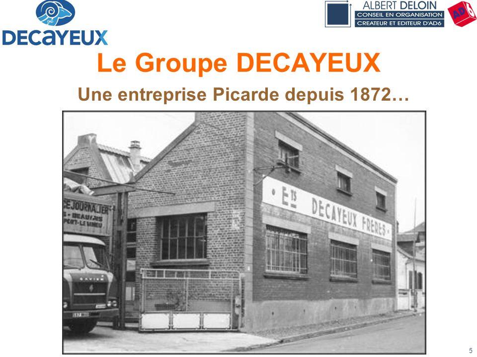 Présentation DECAYEUX - Albert DELOIN SAS5 Le Groupe DECAYEUX Une entreprise Picarde depuis 1872…