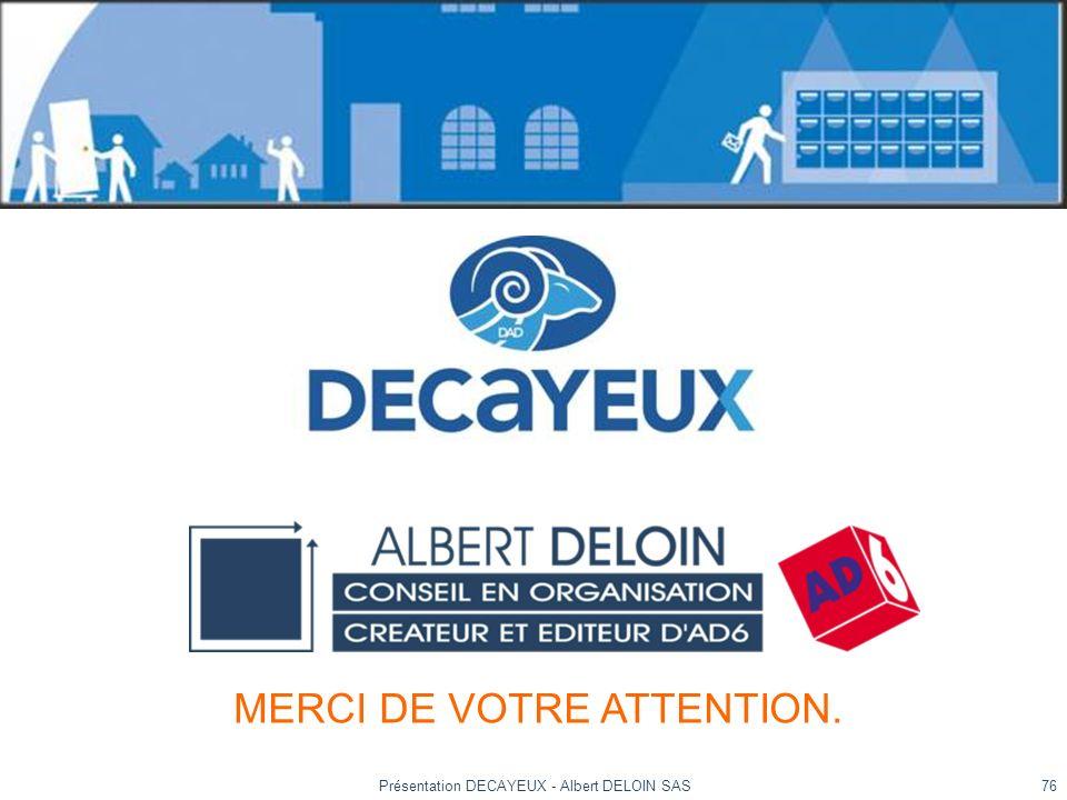 Présentation DECAYEUX - Albert DELOIN SAS76 MERCI DE VOTRE ATTENTION.