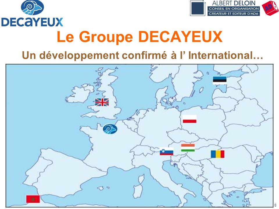 Présentation DECAYEUX - Albert DELOIN SAS8 Le Groupe DECAYEUX Un développement confirmé à l International…
