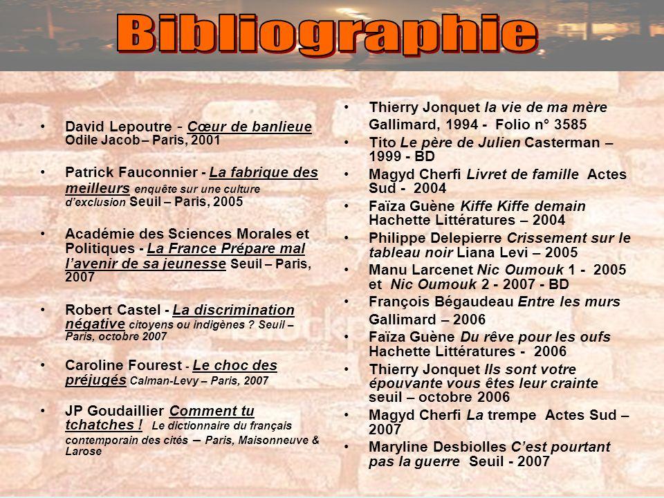 David Lepoutre - Cœur de banlieue Odile Jacob – Paris, 2001 Patrick Fauconnier - La fabrique des meilleurs enquête sur une culture dexclusion Seuil –