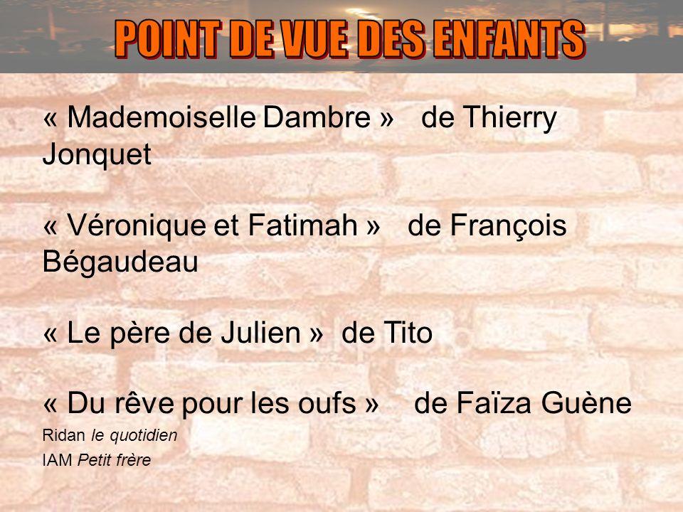 « Mademoiselle Dambre » de Thierry Jonquet « Véronique et Fatimah » de François Bégaudeau « Le père de Julien » de Tito « Du rêve pour les oufs » de F