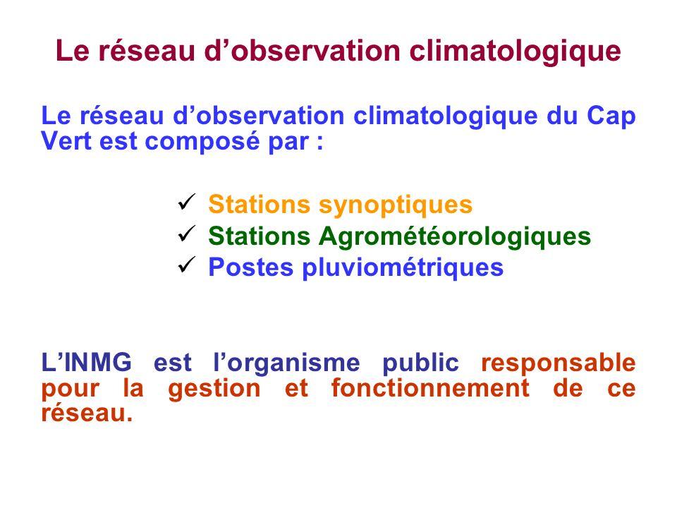 Le réseau dobservation climatologique Le réseau dobservation climatologique du Cap Vert est composé par : Stations synoptiques Stations Agrométéorolog