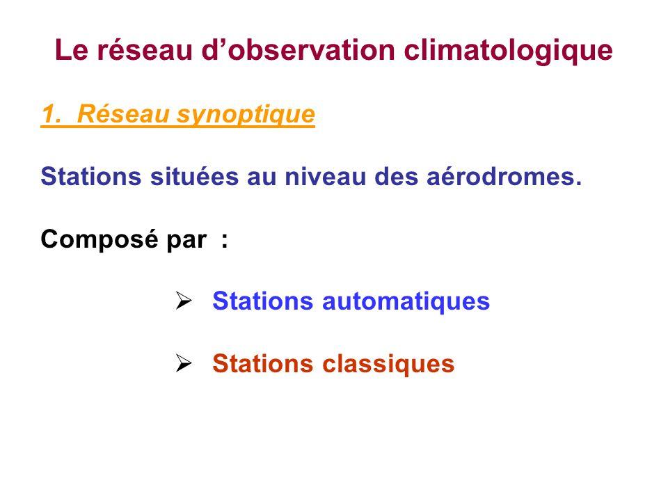 Le réseau dobservation climatologique 1. Réseau synoptique Stations situées au niveau des aérodromes. Composé par : Stations automatiques Stations cla