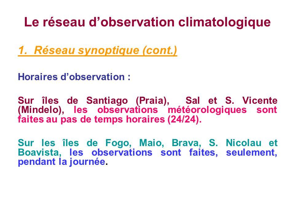 Le réseau dobservation climatologique 1. Réseau synoptique (cont.) Horaires dobservation : Sur îles de Santiago (Praia), Sal et S. Vicente (Mindelo),
