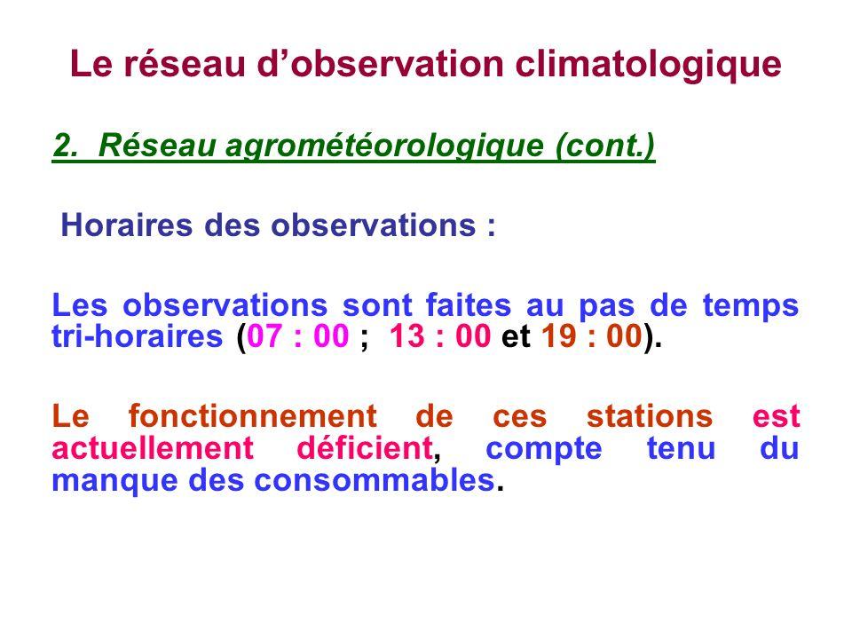 Le réseau dobservation climatologique 2. Réseau agrométéorologique (cont.) Horaires des observations : Les observations sont faites au pas de temps tr