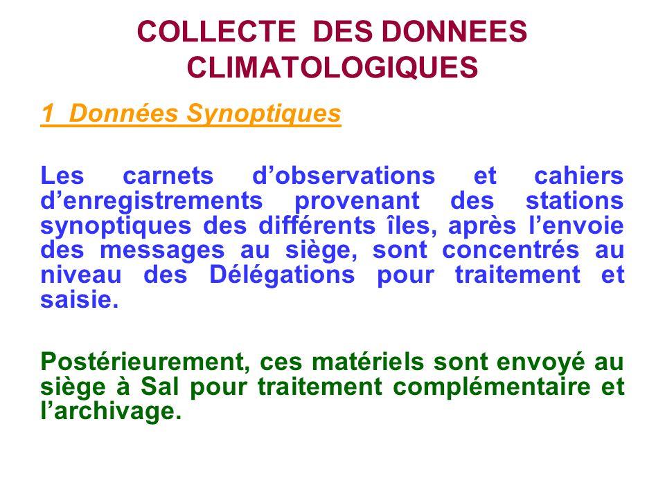 COLLECTE DES DONNEES CLIMATOLOGIQUES 1 Données Synoptiques Les carnets dobservations et cahiers denregistrements provenant des stations synoptiques de
