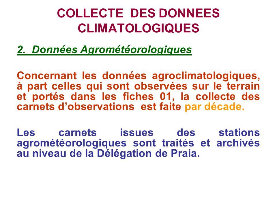 COLLECTE DES DONNEES CLIMATOLOGIQUES 2. Données Agrométéorologiques Concernant les données agroclimatologiques, à part celles qui sont observées sur l