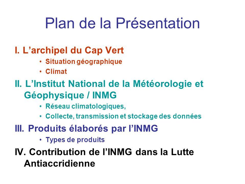 Plan de la Présentation I. Larchipel du Cap Vert Situation géographique Climat II. LInstitut National de la Météorologie et Géophysique / INMG Réseau