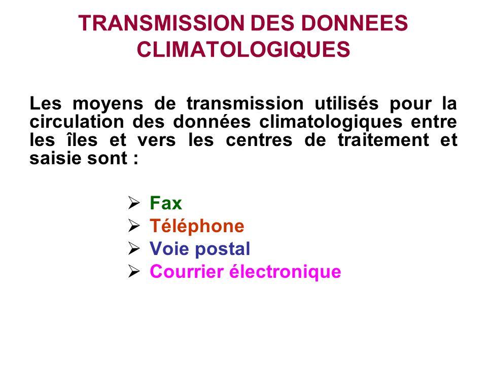 TRANSMISSION DES DONNEES CLIMATOLOGIQUES Les moyens de transmission utilisés pour la circulation des données climatologiques entre les îles et vers le