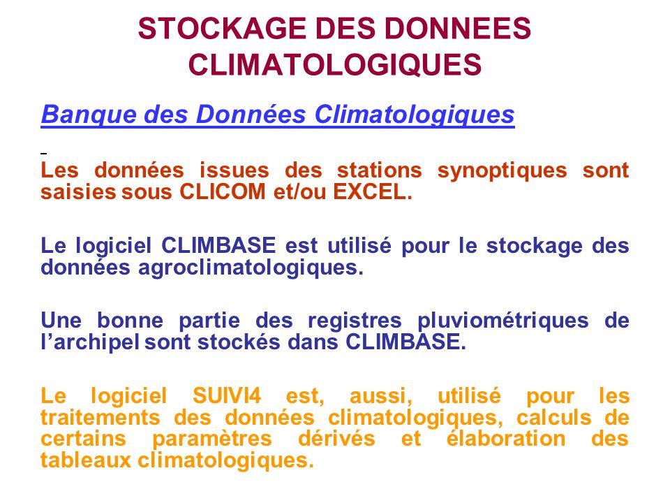 STOCKAGE DES DONNEES CLIMATOLOGIQUES Banque des Données Climatologiques Les données issues des stations synoptiques sont saisies sous CLICOM et/ou EXC