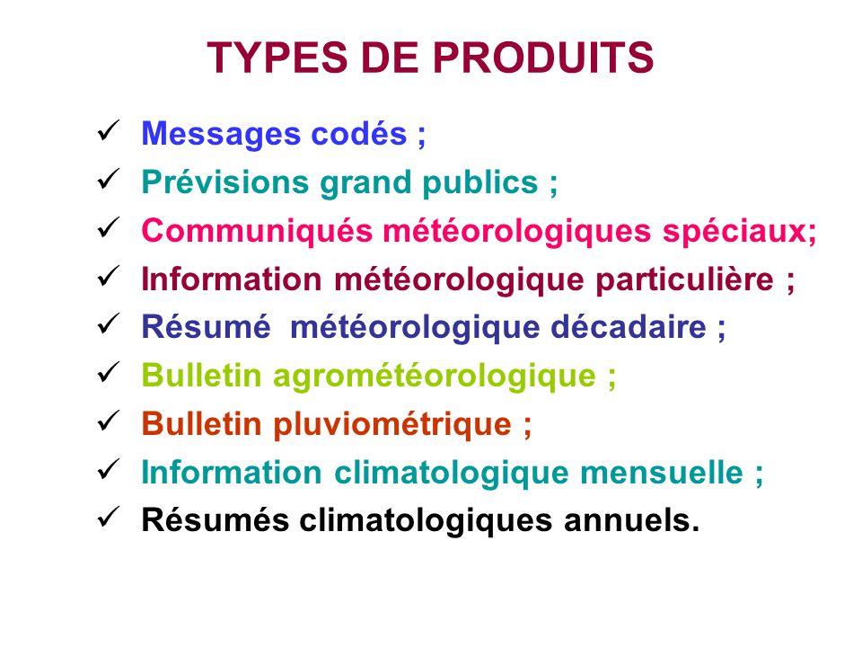 TYPES DE PRODUITS Messages codés ; Prévisions grand publics ; Communiqués météorologiques spéciaux; Information météorologique particulière ; Résumé m