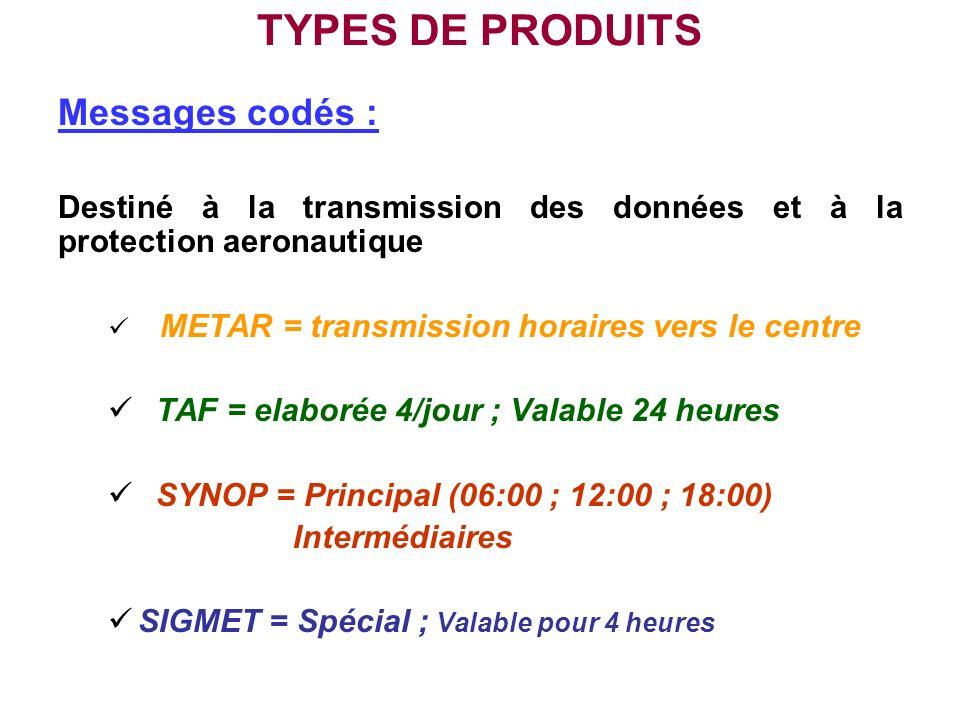 TYPES DE PRODUITS Messages codés : Destiné à la transmission des données et à la protection aeronautique METAR = transmission horaires vers le centre