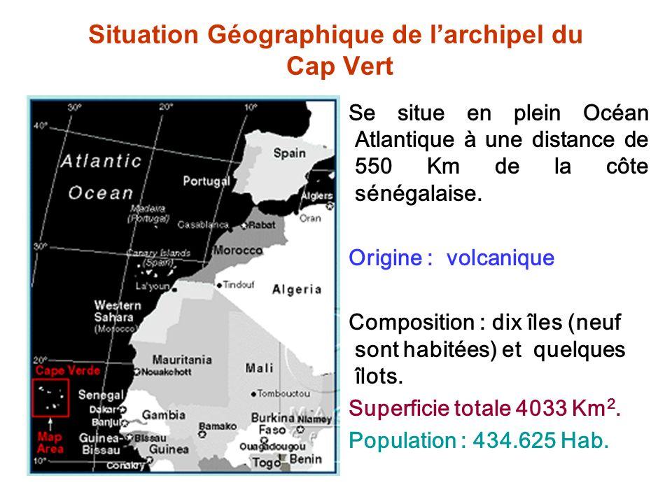 Situation Géographique de larchipel du Cap Vert Se situe en plein Océan Atlantique à une distance de 550 Km de la côte sénégalaise. Origine : volcaniq