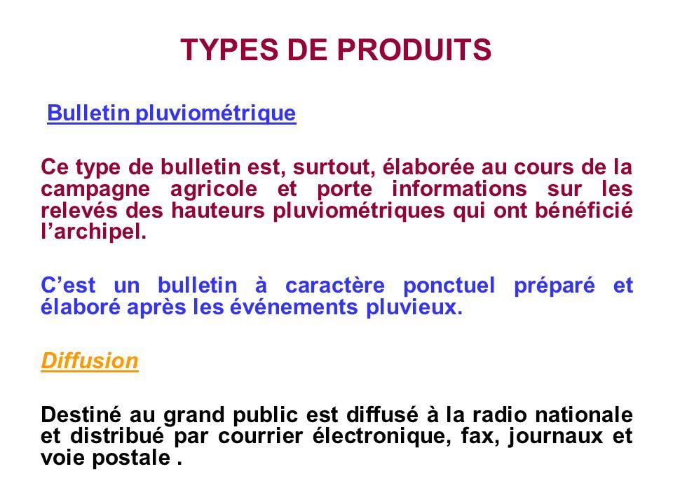 TYPES DE PRODUITS Bulletin pluviométrique Ce type de bulletin est, surtout, élaborée au cours de la campagne agricole et porte informations sur les re