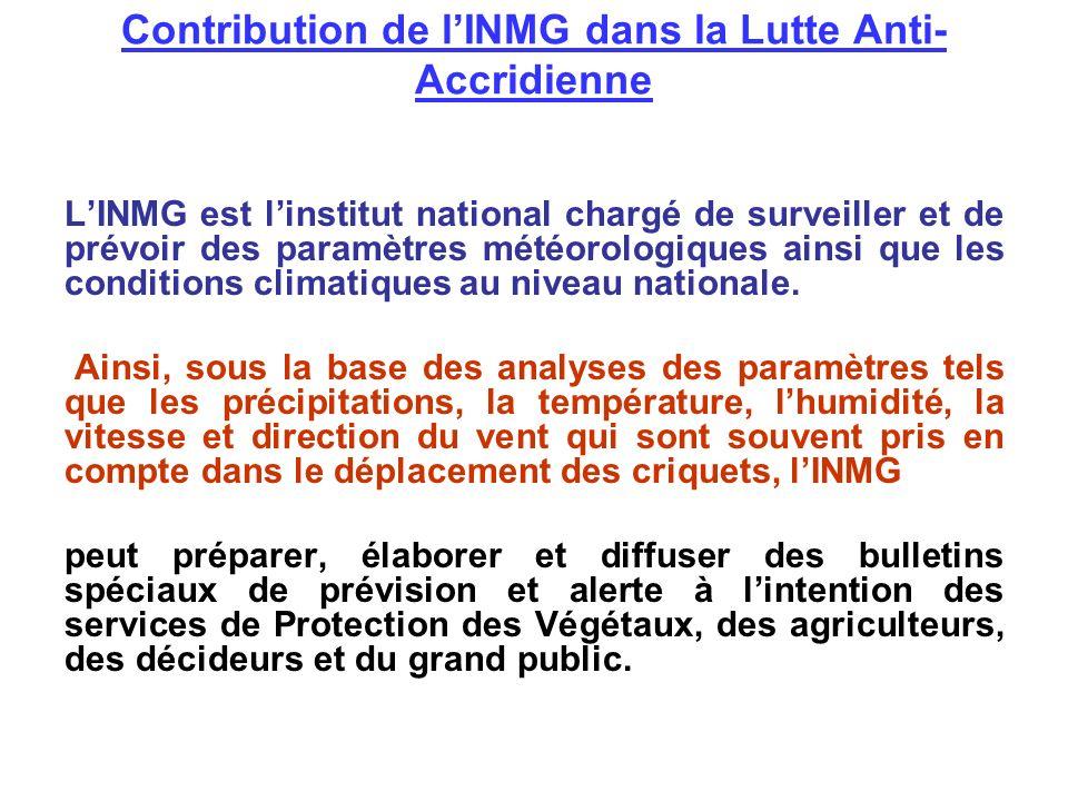 Contribution de lINMG dans la Lutte Anti- Accridienne LINMG est linstitut national chargé de surveiller et de prévoir des paramètres météorologiques a