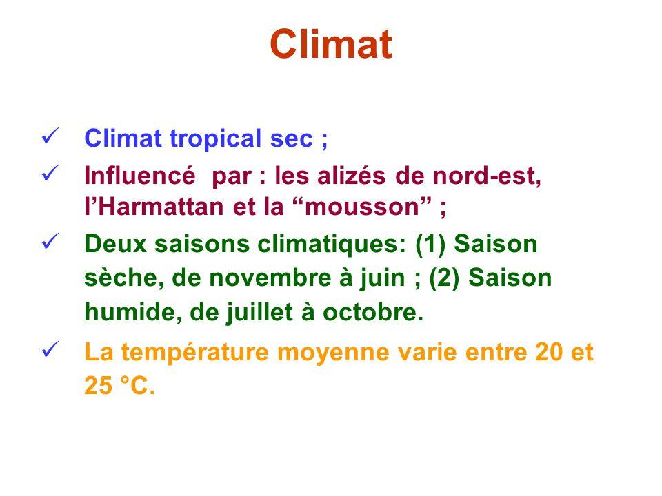 Climat Climat tropical sec ; Influencé par : les alizés de nord-est, lHarmattan et la mousson ; Deux saisons climatiques: (1) Saison sèche, de novembr