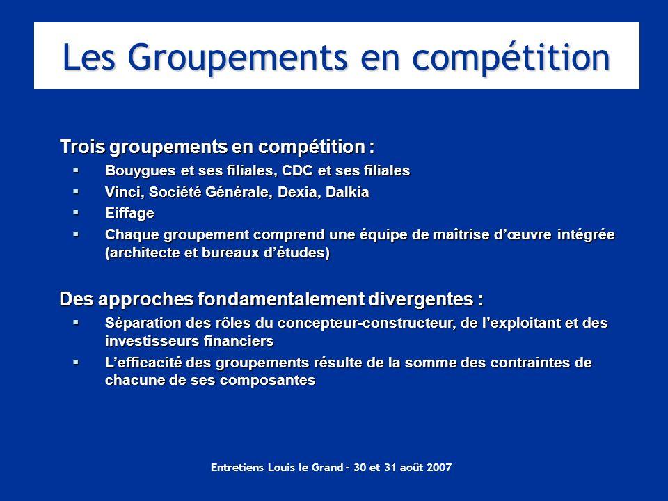 Entretiens Louis le Grand – 30 et 31 août 2007 Trois groupements en compétition : Bouygues et ses filiales, CDC et ses filiales Bouygues et ses filial