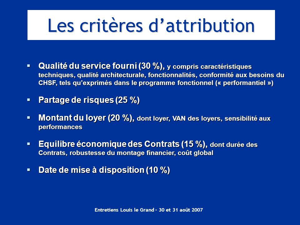 Entretiens Louis le Grand – 30 et 31 août 2007 Qualité du service fourni (30 %), y compris caractéristiques techniques, qualité architecturale, foncti
