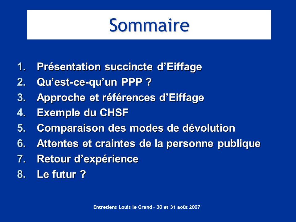 Entretiens Louis le Grand – 30 et 31 août 2007 1.Présentation succincte dEiffage 2.Quest-ce-quun PPP ? 3.Approche et références dEiffage 4.Exemple du