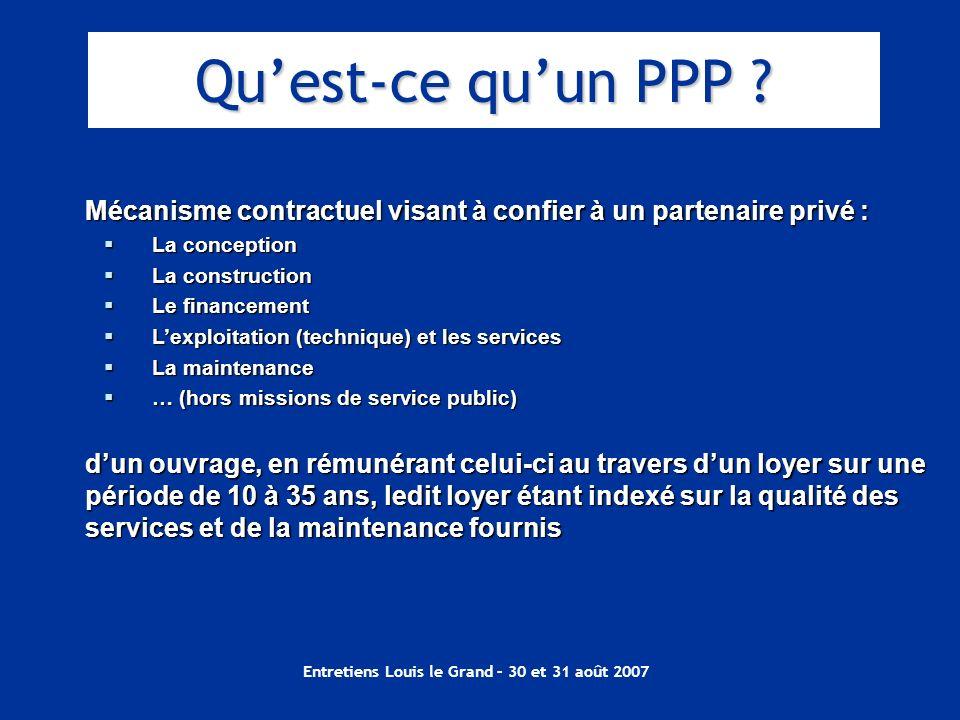 Entretiens Louis le Grand – 30 et 31 août 2007 Mécanisme contractuel visant à confier à un partenaire privé : La conception La conception La construct
