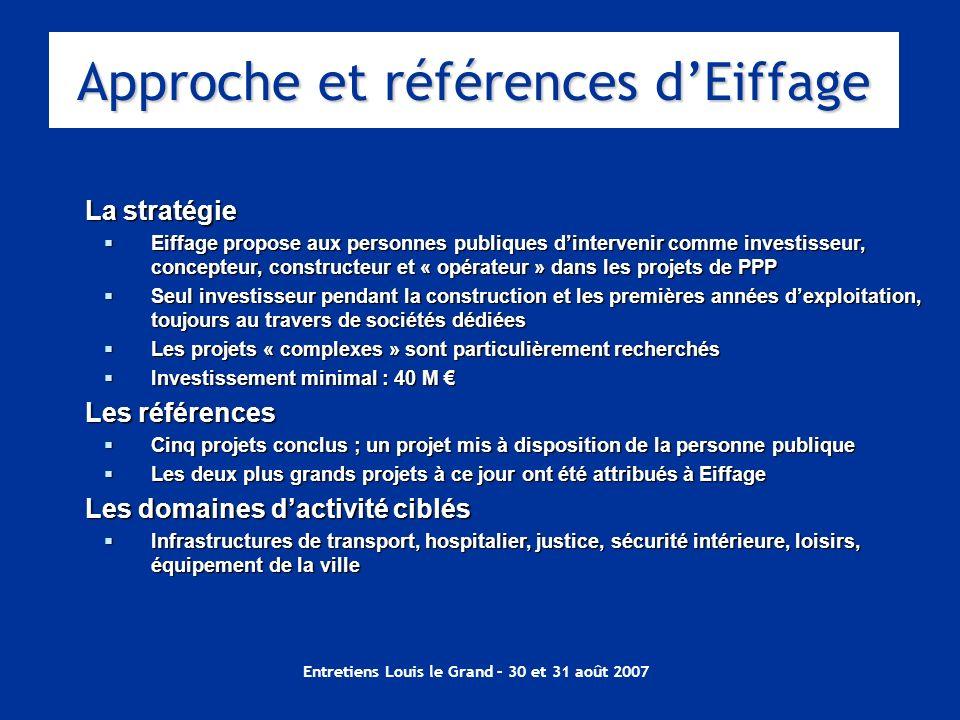 Entretiens Louis le Grand – 30 et 31 août 2007 La stratégie Eiffage propose aux personnes publiques dintervenir comme investisseur, concepteur, constr
