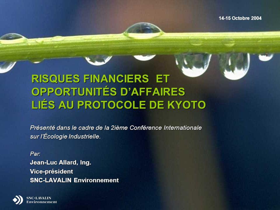RISQUES FINANCIERS ET OPPORTUNITÉS DAFFAIRES LIÉS AU PROTOCOLE DE KYOTO Présenté dans le cadre de la 2ième Conférence Internationale sur lÉcologie Industrielle.