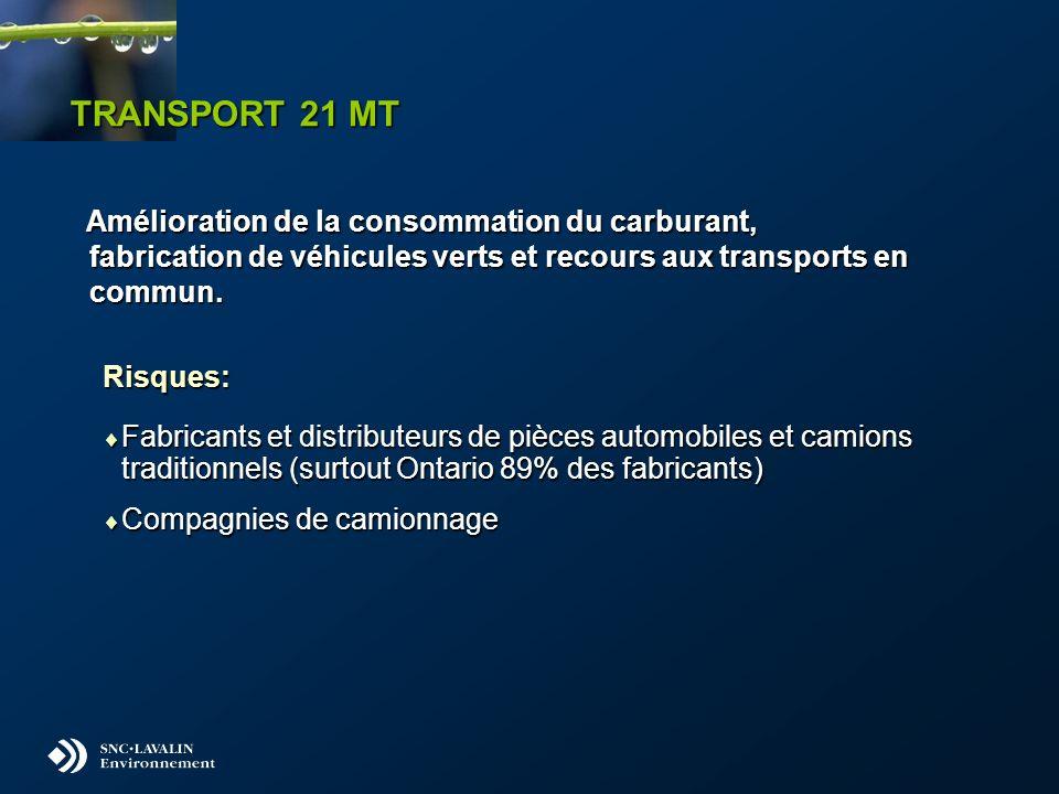 TRANSPORT 21 MT Amélioration de la consommation du carburant, fabrication de véhicules verts et recours aux transports en commun. Amélioration de la c
