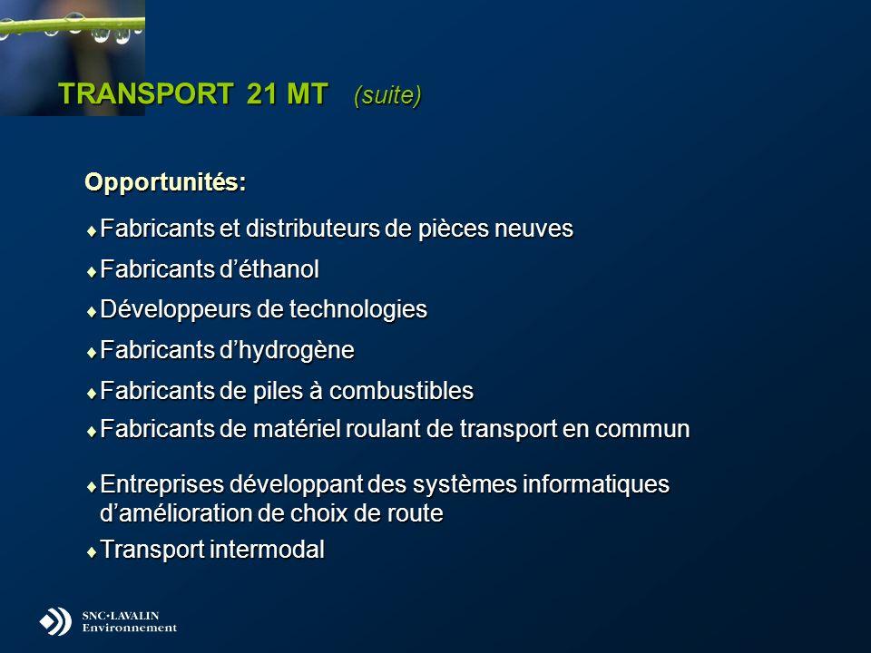 TRANSPORT 21 MT (suite) Opportunités: Fabricants et distributeurs de pièces neuves Fabricants et distributeurs de pièces neuves Fabricants déthanol Fa