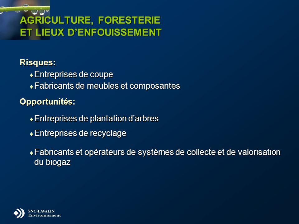 AGRICULTURE, FORESTERIE ET LIEUX DENFOUISSEMENT Risques: Entreprises de coupe Entreprises de coupe Fabricants de meubles et composantes Fabricants de