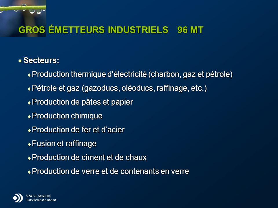 GROS ÉMETTEURS INDUSTRIELS 96 MT Secteurs: Secteurs: Production thermique délectricité (charbon, gaz et pétrole) Production thermique délectricité (charbon, gaz et pétrole) Pétrole et gaz (gazoducs, oléoducs, raffinage, etc.) Pétrole et gaz (gazoducs, oléoducs, raffinage, etc.) Production de pâtes et papier Production de pâtes et papier Production chimique Production chimique Production de fer et dacier Production de fer et dacier Fusion et raffinage Fusion et raffinage Production de ciment et de chaux Production de ciment et de chaux Production de verre et de contenants en verre Production de verre et de contenants en verre