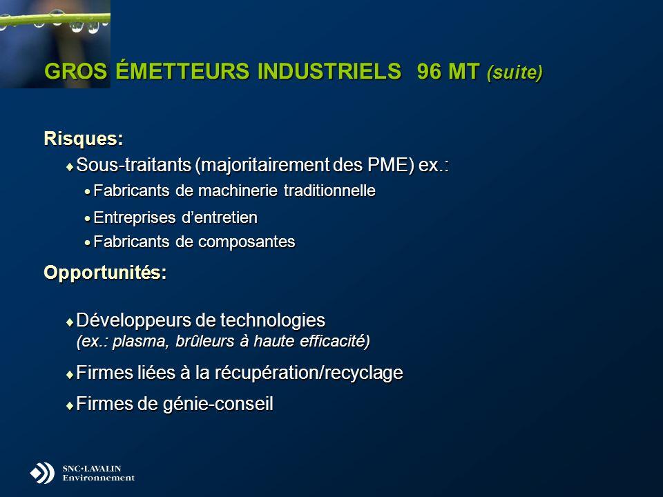 GROS ÉMETTEURS INDUSTRIELS 96 MT (suite) Risques: Sous-traitants (majoritairement des PME) ex.: Sous-traitants (majoritairement des PME) ex.: Fabrican