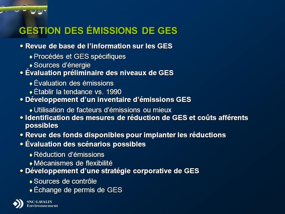 GESTION DES ÉMISSIONS DE GES Revue de base de linformation sur les GES Revue de base de linformation sur les GES Procédés et GES spécifiques Procédés