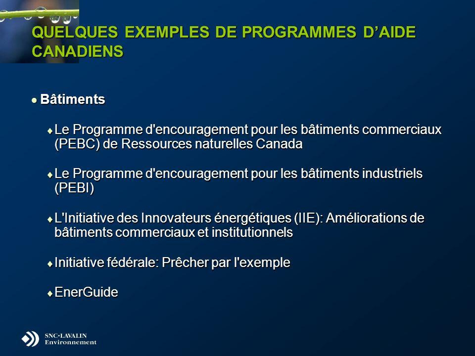 QUELQUES EXEMPLES DE PROGRAMMES DAIDE CANADIENS Bâtiments Bâtiments Le Programme d'encouragement pour les bâtiments commerciaux (PEBC) de Ressources n