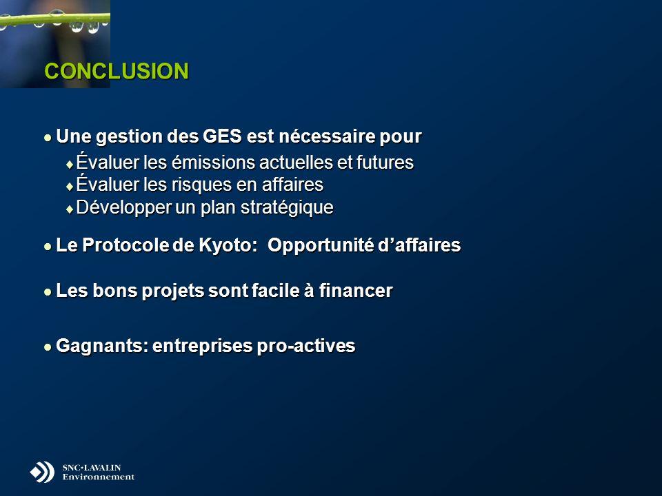 CONCLUSION Une gestion des GES est nécessaire pour Une gestion des GES est nécessaire pour Évaluer les émissions actuelles et futures Évaluer les émissions actuelles et futures Évaluer les risques en affaires Évaluer les risques en affaires Développer un plan stratégique Développer un plan stratégique Le Protocole de Kyoto: Opportunité daffaires Le Protocole de Kyoto: Opportunité daffaires Les bons projets sont facile à financer Les bons projets sont facile à financer Gagnants: entreprises pro-actives Gagnants: entreprises pro-actives
