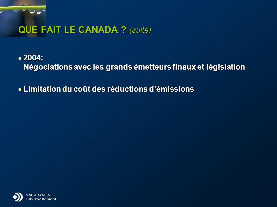 QUE FAIT LE CANADA ? (suite) 2004: Négociations avec les grands émetteurs finaux et législation 2004: Négociations avec les grands émetteurs finaux et
