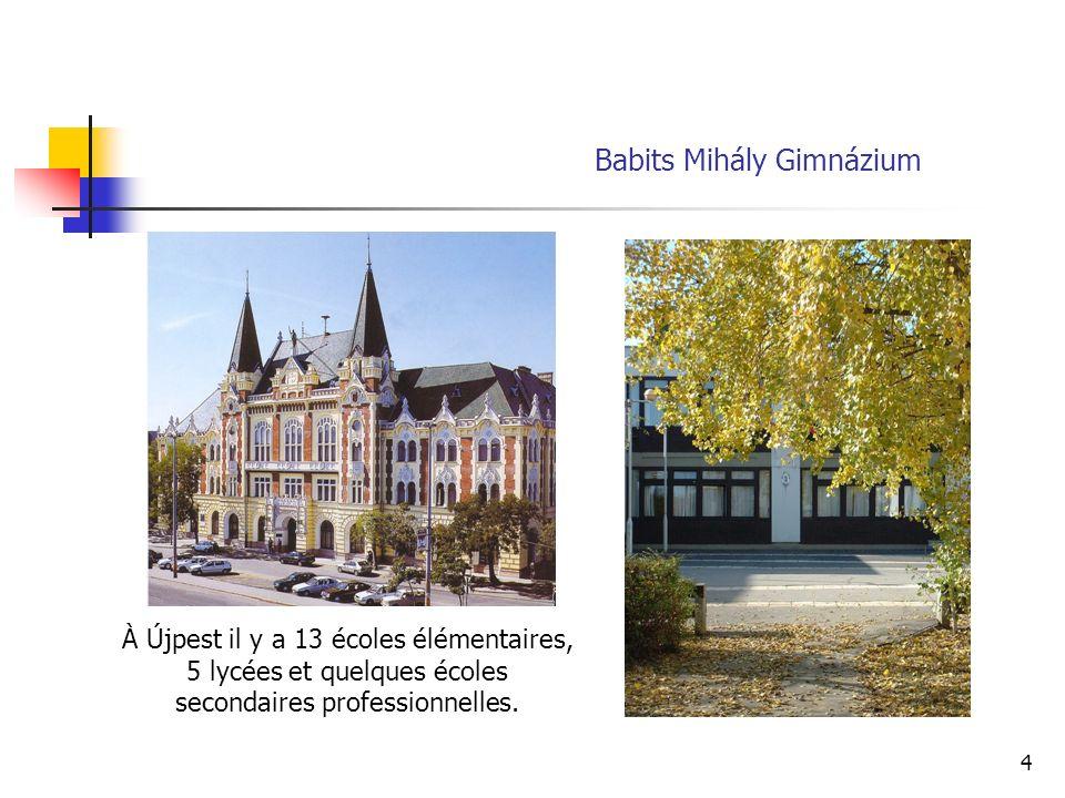 4 À Újpest il y a 13 écoles élémentaires, 5 lycées et quelques écoles secondaires professionnelles.