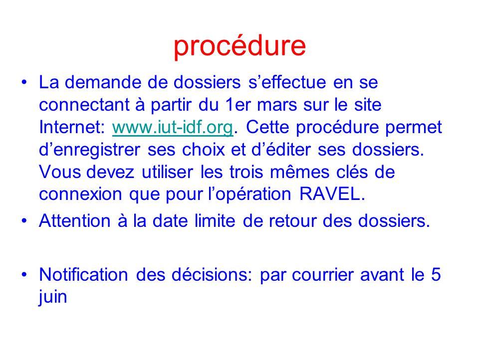 procédure La demande de dossiers seffectue en se connectant à partir du 1er mars sur le site Internet: www.iut-idf.org.
