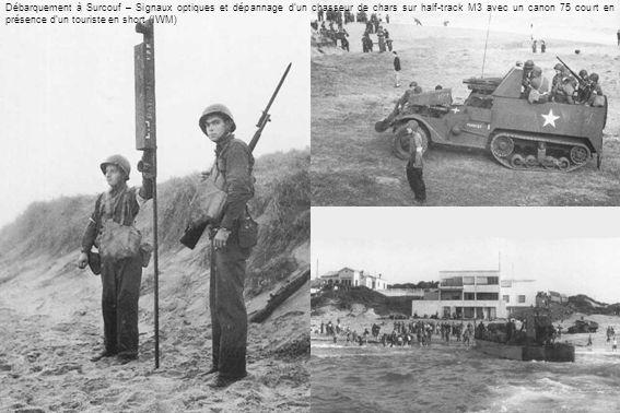 Débarquement à Surcouf – Signaux optiques et dépannage dun chasseur de chars sur half-track M3 avec un canon 75 court en présence dun touriste en shor