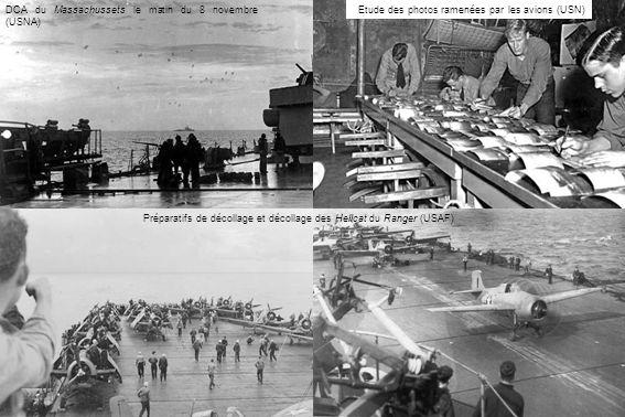 DCA du Massachussets le matin du 8 novembre (USNA) Etude des photos ramenées par les avions (USN) Préparatifs de décollage et décollage des Hellcat du