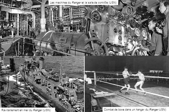 Les machines du Ranger et la salle de contrôle (USN) Ravitaillement en mer du Ranger (USN) Combat de boxe dans un hangar du Ranger USN)
