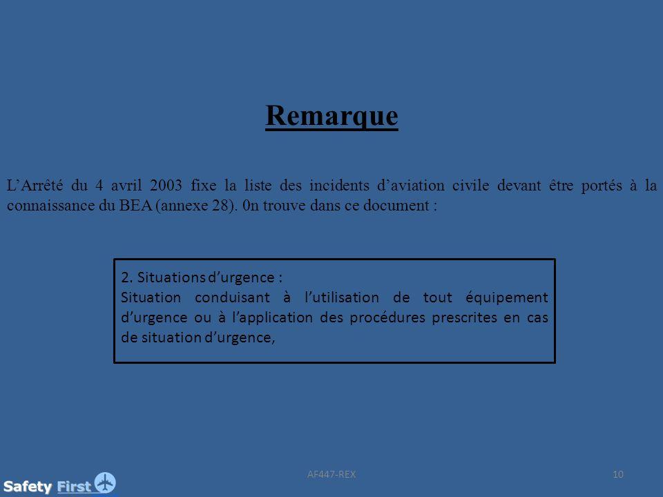 10 Remarque LArrêté du 4 avril 2003 fixe la liste des incidents daviation civile devant être portés à la connaissance du BEA (annexe 28). 0n trouve da