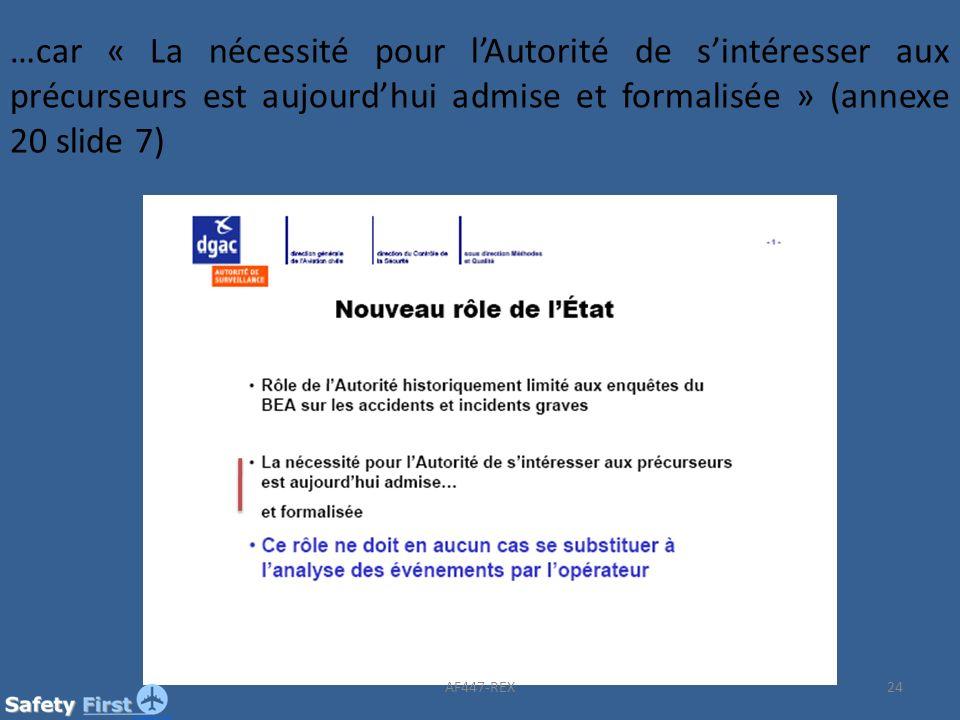 24 …car « La nécessité pour lAutorité de sintéresser aux précurseurs est aujourdhui admise et formalisée » (annexe 20 slide 7) AF447-REX