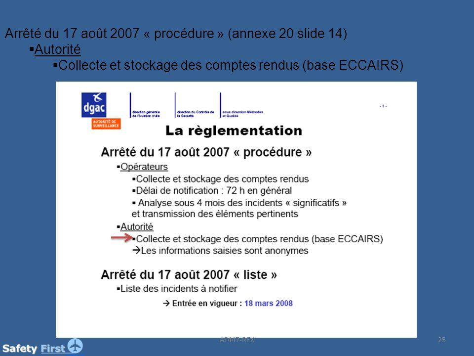 25 Arrêté du 17 août 2007 « procédure » (annexe 20 slide 14) Autorité Collecte et stockage des comptes rendus (base ECCAIRS) AF447-REX