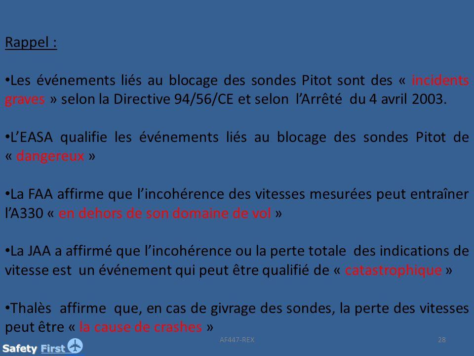 28 Rappel : Les événements liés au blocage des sondes Pitot sont des « incidents graves » selon la Directive 94/56/CE et selon lArrêté du 4 avril 2003