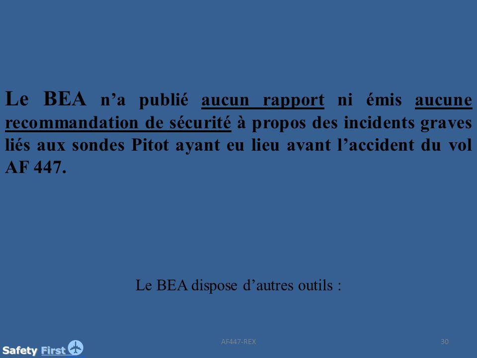 30 Le BEA na publié aucun rapport ni émis aucune recommandation de sécurité à propos des incidents graves liés aux sondes Pitot ayant eu lieu avant la