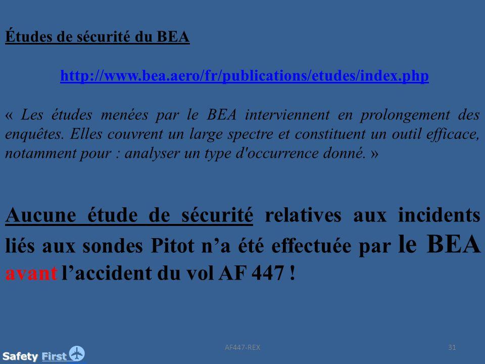 31 Études de sécurité du BEA http://www.bea.aero/fr/publications/etudes/index.php « Les études menées par le BEA interviennent en prolongement des enq