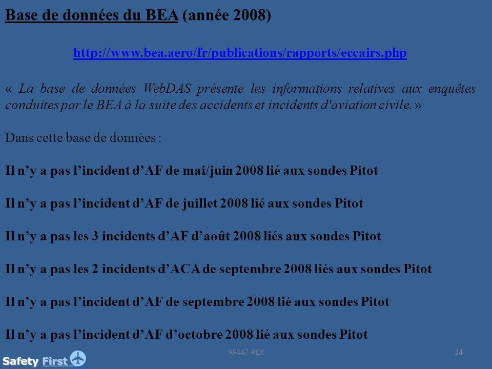 34 Base de données du BEA (année 2008) http://www.bea.aero/fr/publications/rapports/eccairs.php « La base de données WebDAS présente les informations